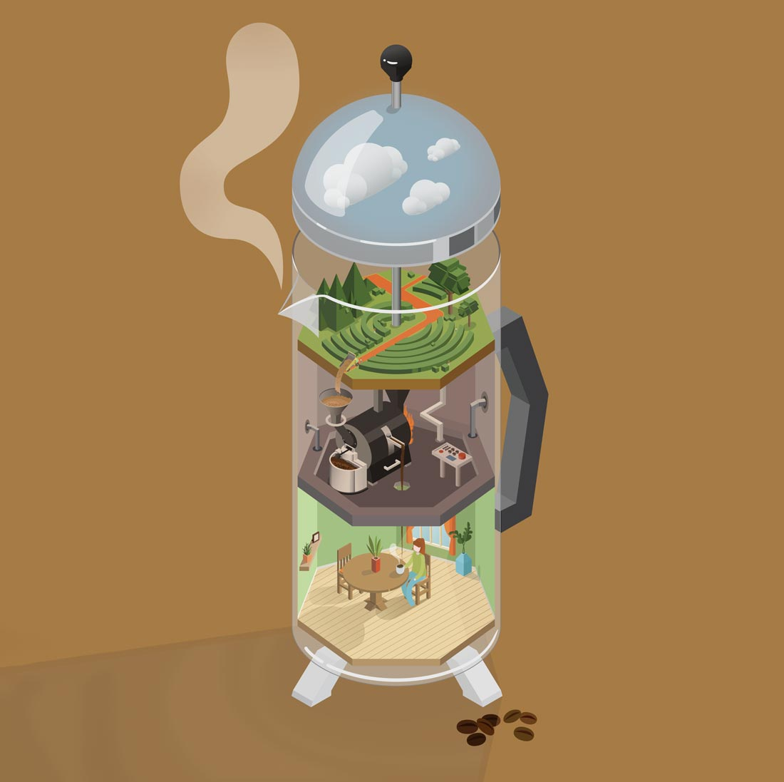 Cover - Isometric Coffee French Press